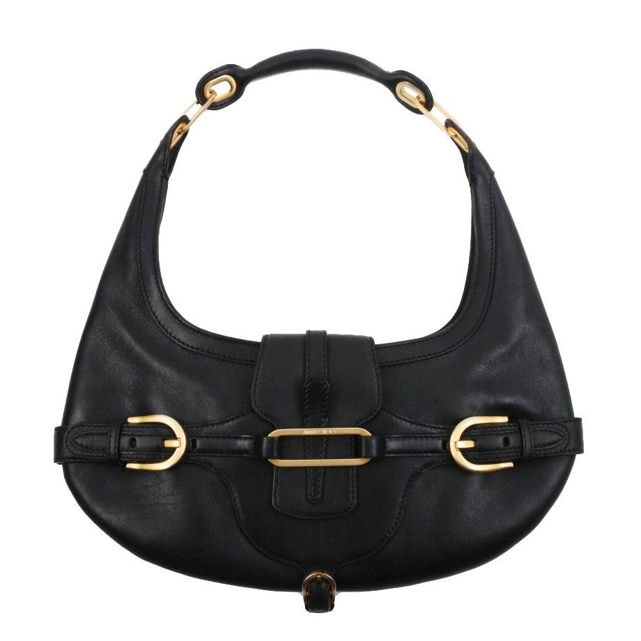 "Jimmy Choo Black Leather Mini ""Tulita"" Hobo Handbag"