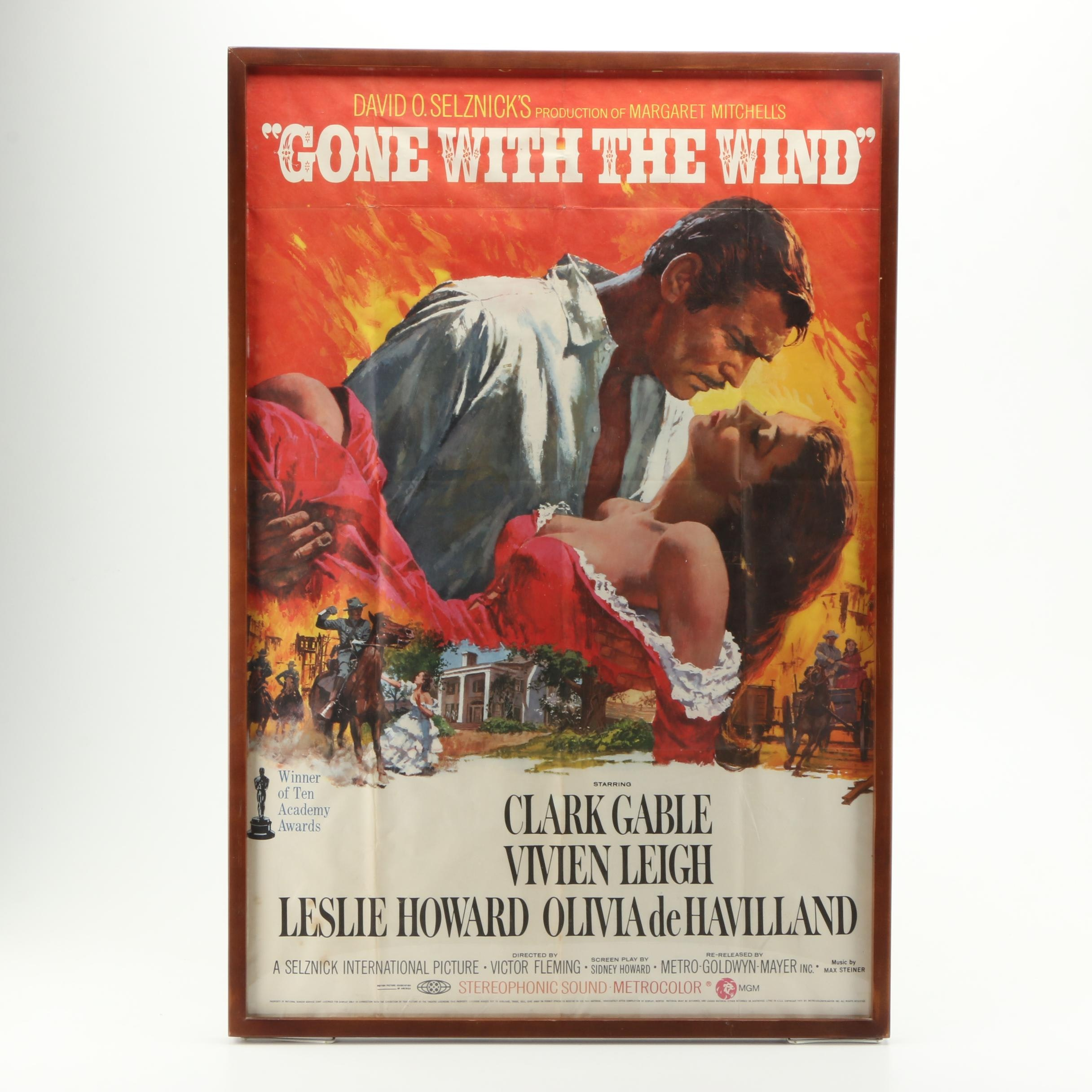 "Framed 1970 ""Gone with the Wind"" Re-Release Film Poster"