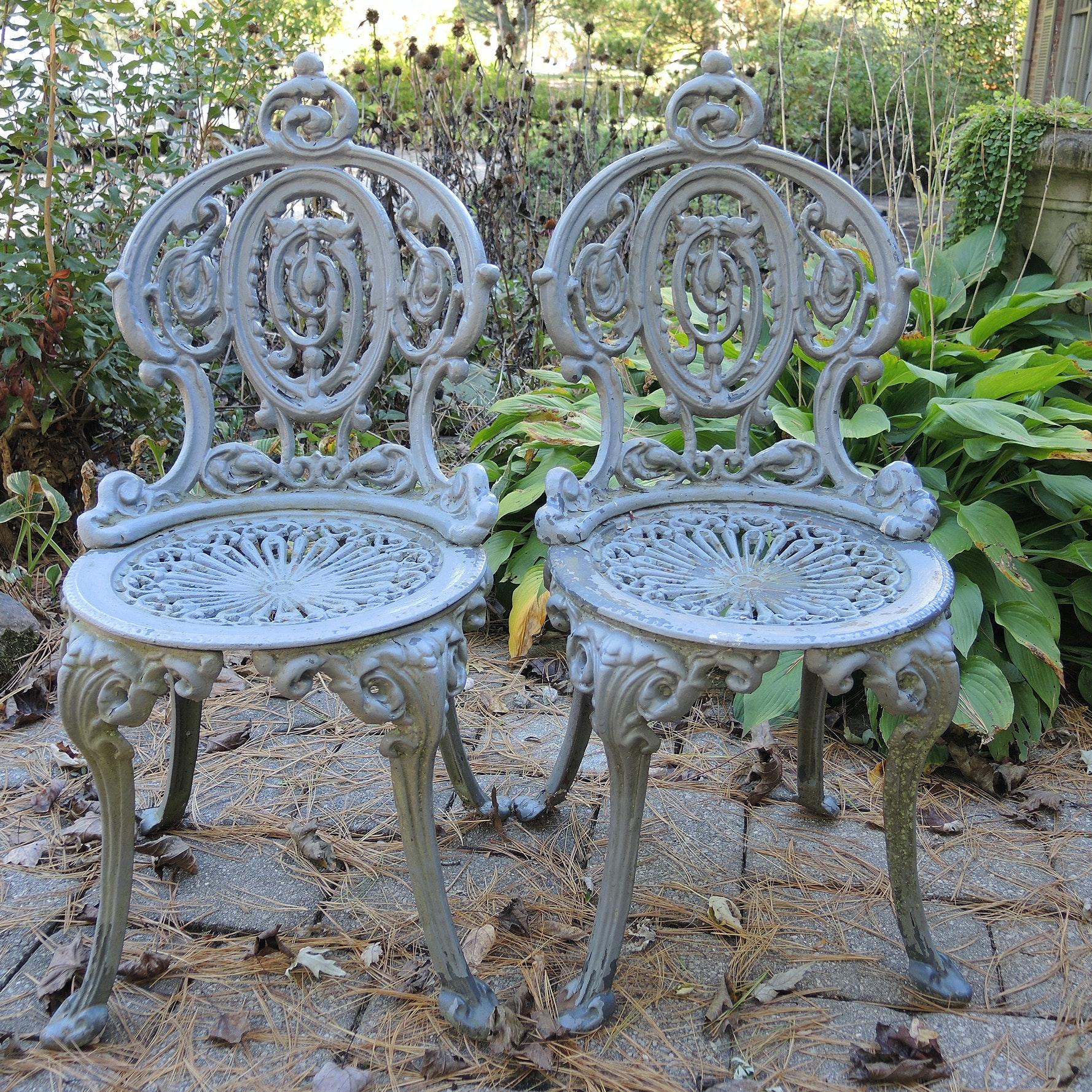 Ornate Vintage Cast Iron Garden Chairs