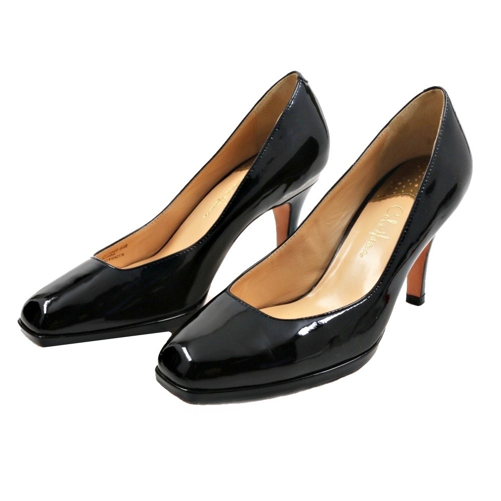 Cole Haan Black Patent Leather Platform Heels with Nike Air Footbed