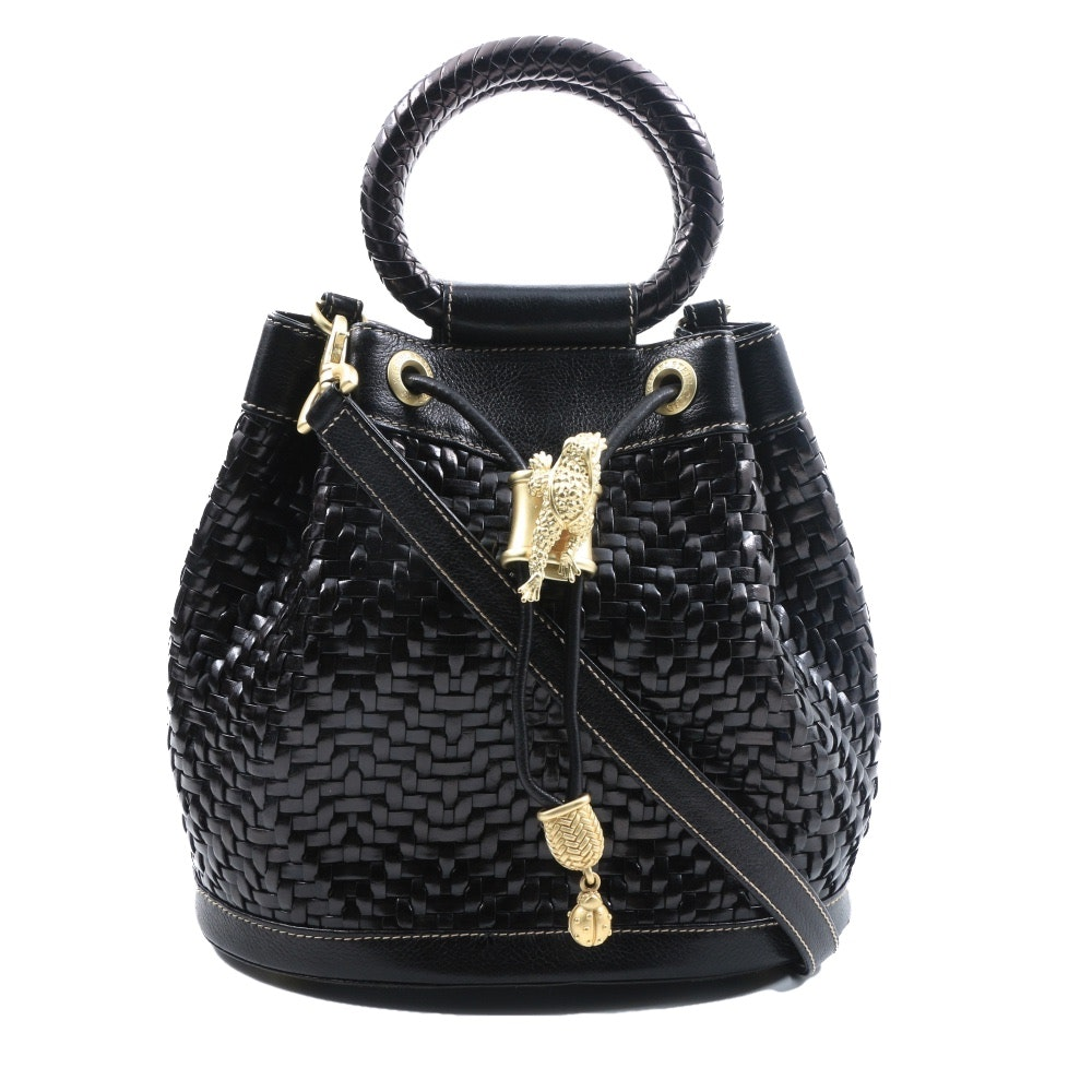 Barry Kieselstein-Cord Black Woven Leather Drawstring Bucket Handbag with Lizard