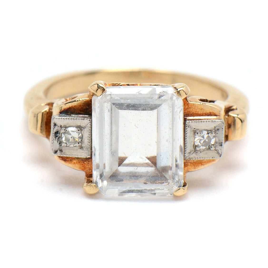 14K Yellow Gold Clear Spinel and Diamond Ring