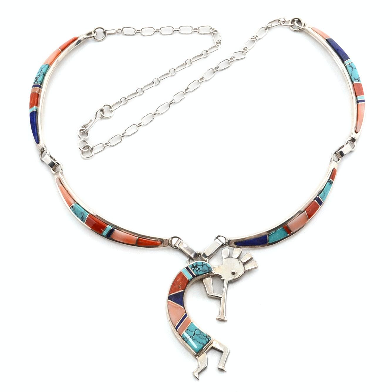 Jon Peters Navajo Diné Sterling Silver Kokopelli Pendant Necklace