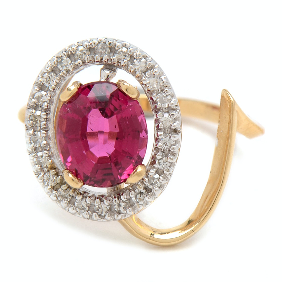 14K Yellow Gold 1.92 Carat Pink Tourmaline and Diamond Ring