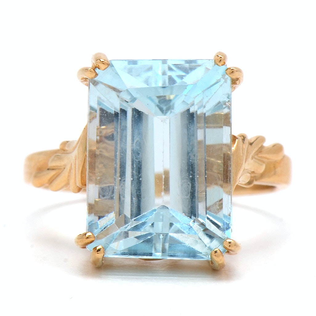 14K Yellow Gold and 8.88 CT Blue Topaz Ring