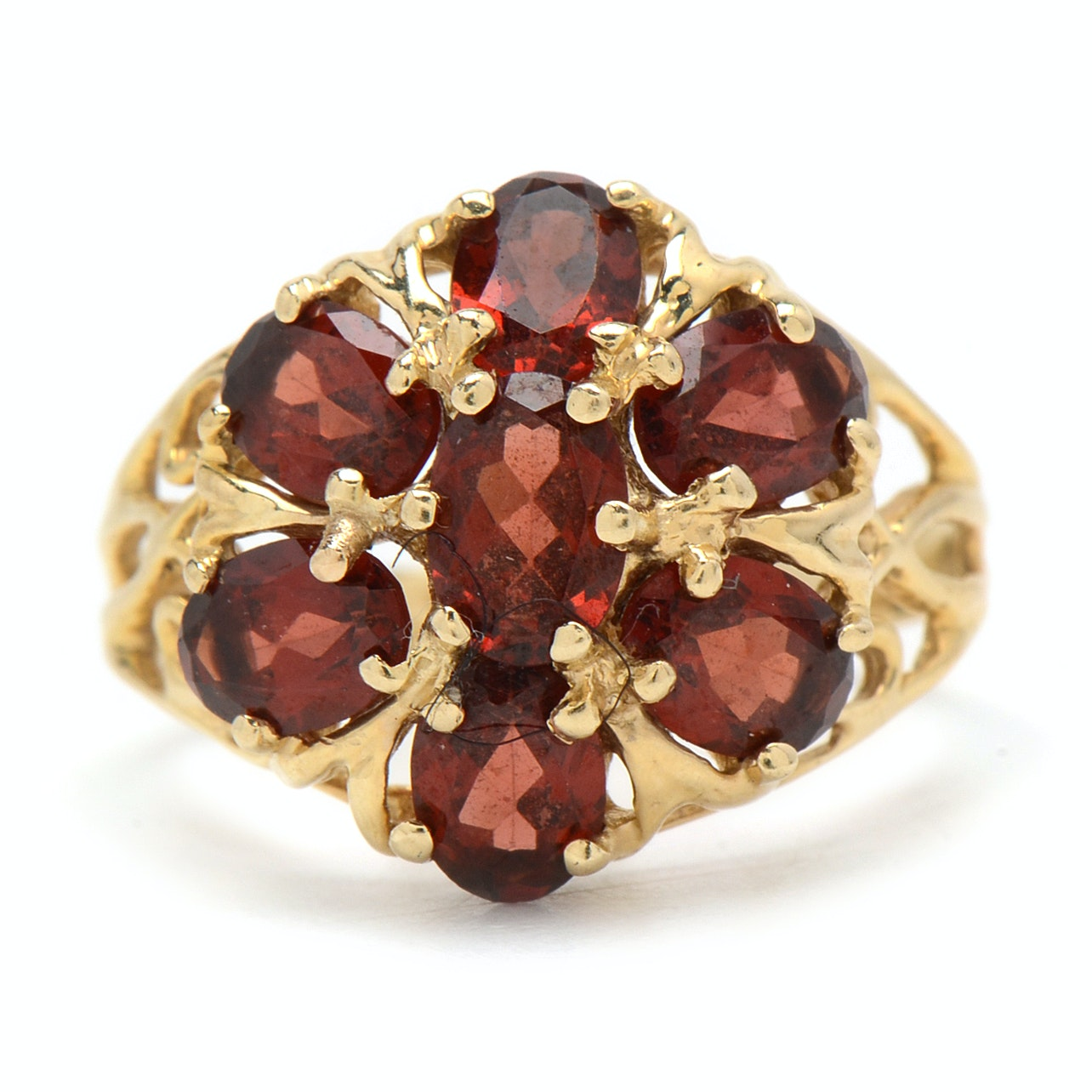 14K Yellow Gold and Garnet Cocktail Ring