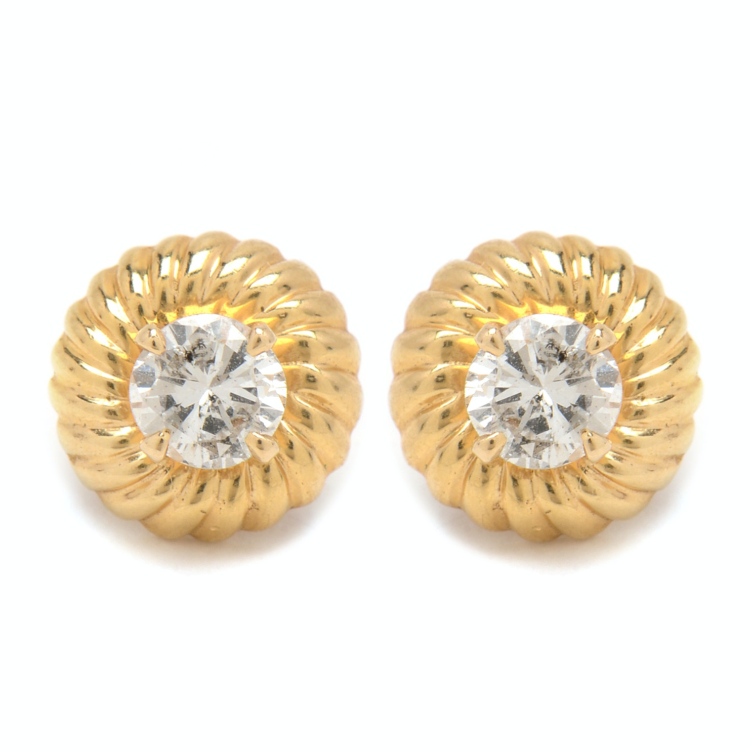 14K Yellow Gold 1.00 CTW Diamond Stud Earrings With Reeded Jackets