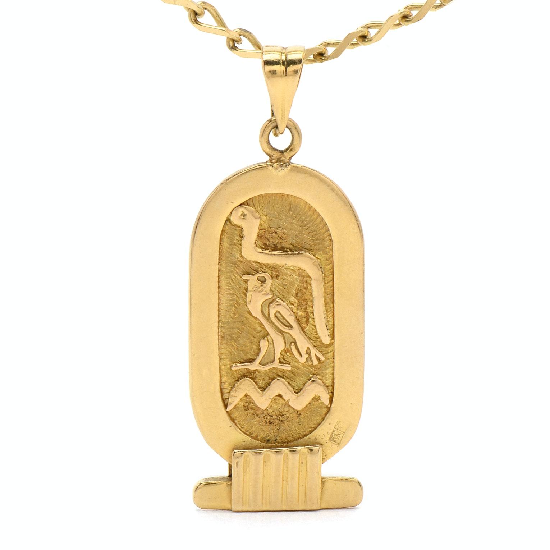 "18K Yellow Gold Egyptian Hieroglyphic ""Jan"" Pendant Necklace"