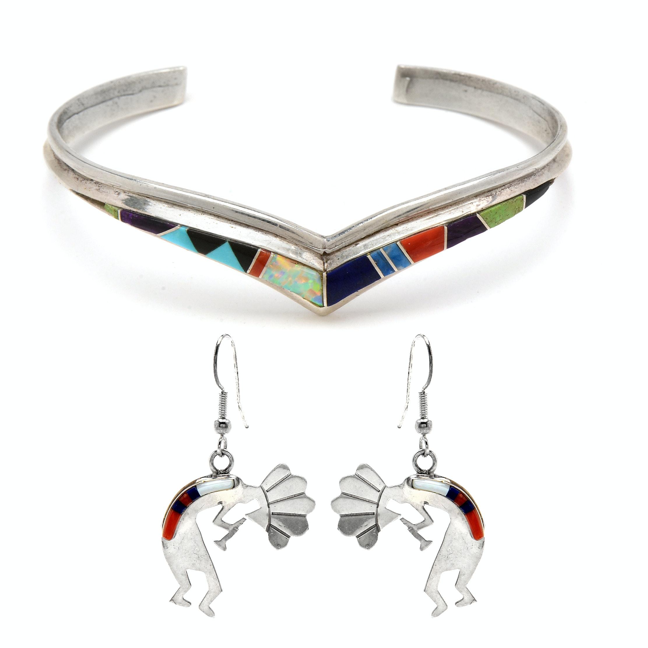 Sterling Silver Kokopelli Pendant Earrings and Cuff Bracelet