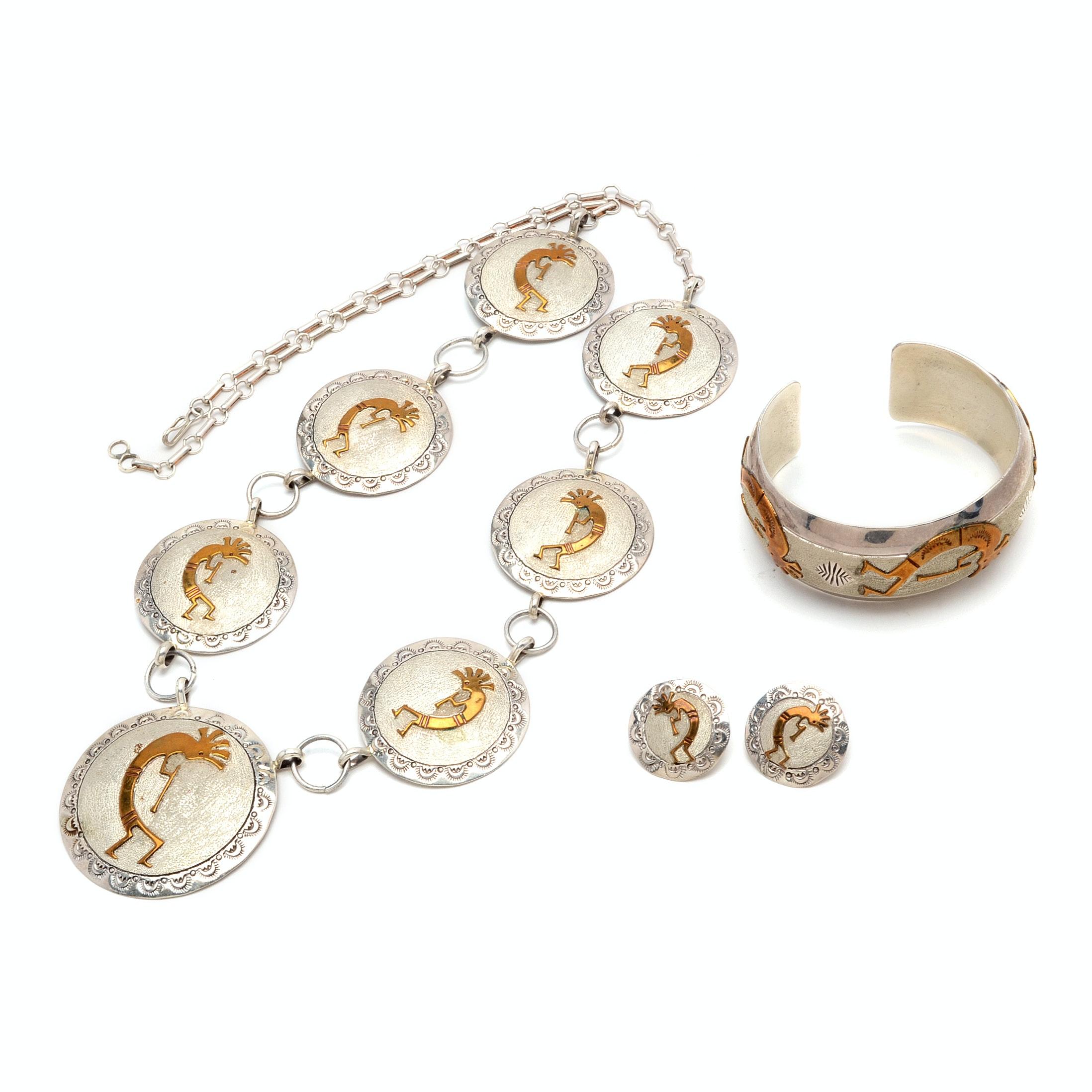Sterling Silver Kokopelli Medallion Necklace, Earrings and Cuff Bracelet