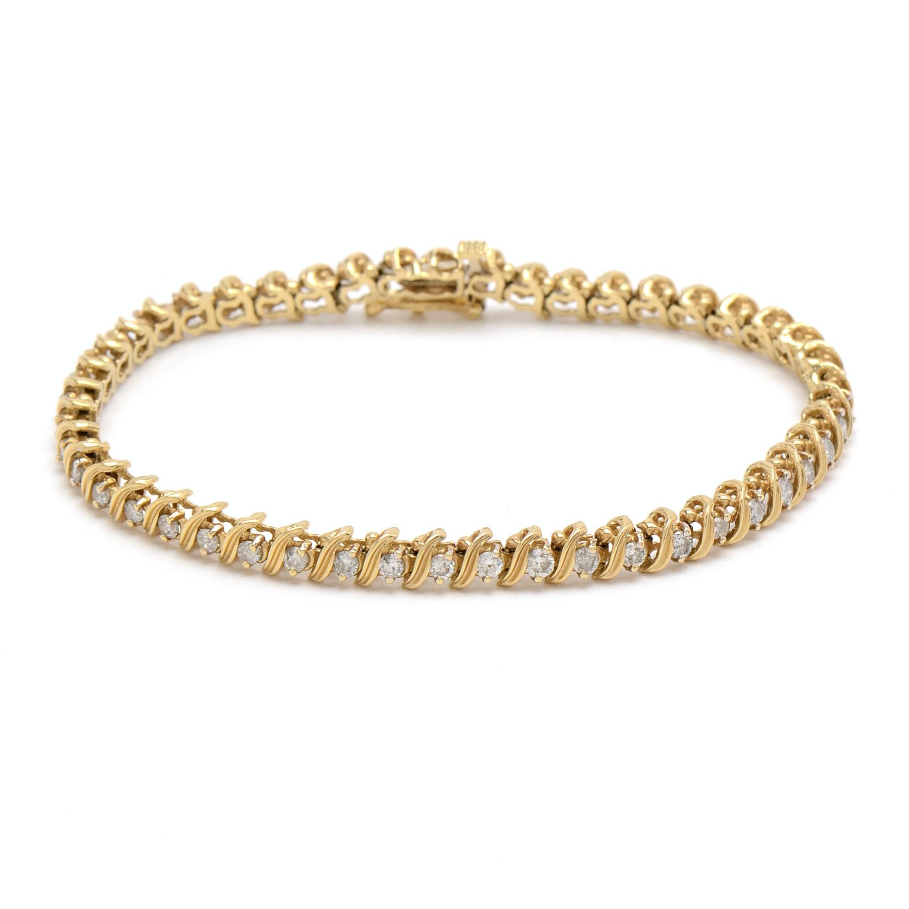 14K Yellow Gold and 1.99 CTW Diamond Tennis Bracelet