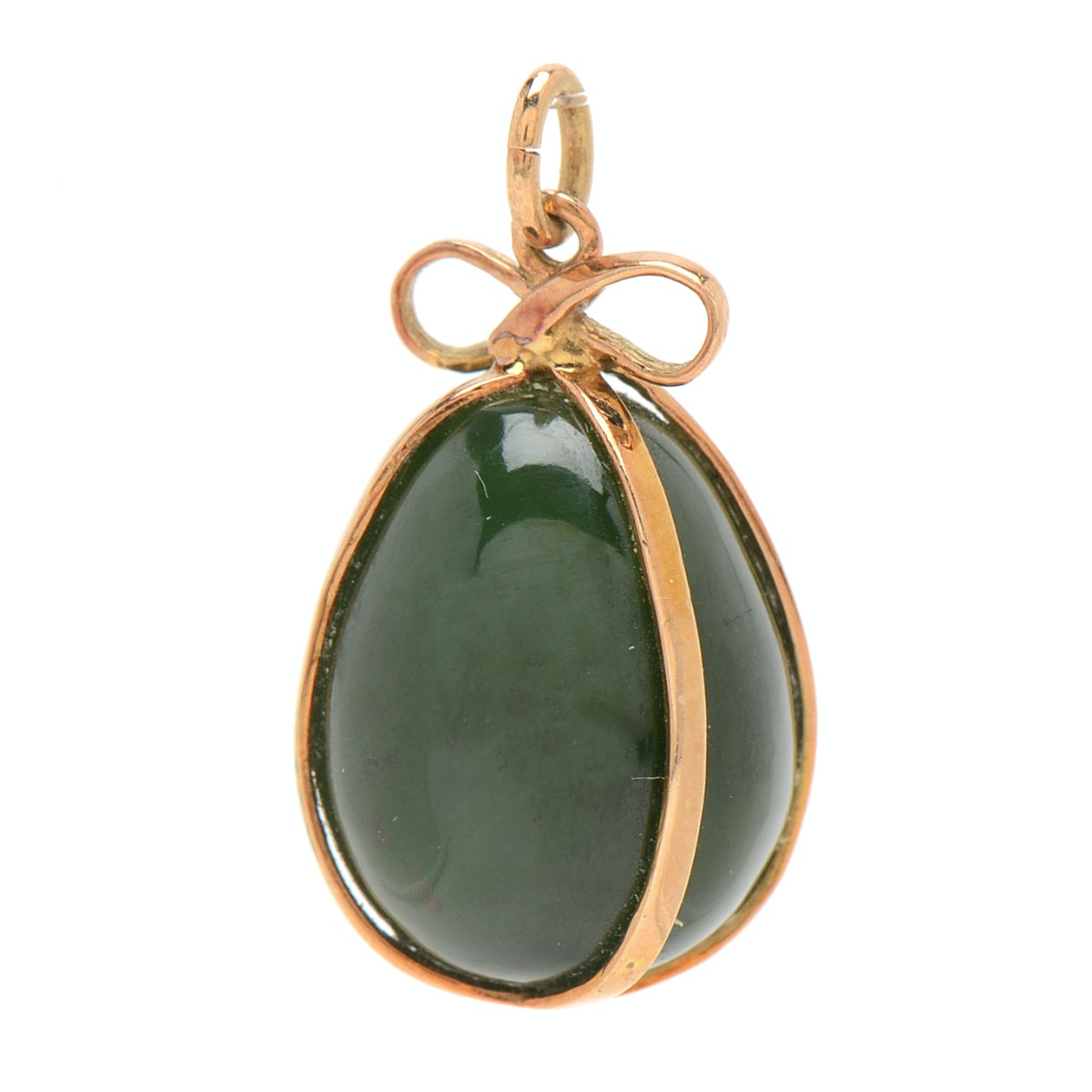 14K Rose Gold and Nephrite Charm