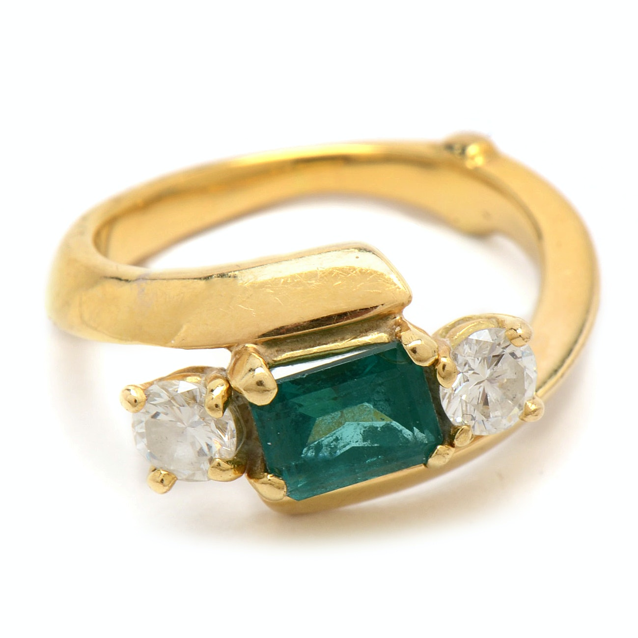 18K Yellow Gold 1.03 Ct Emerald and Diamond Ring
