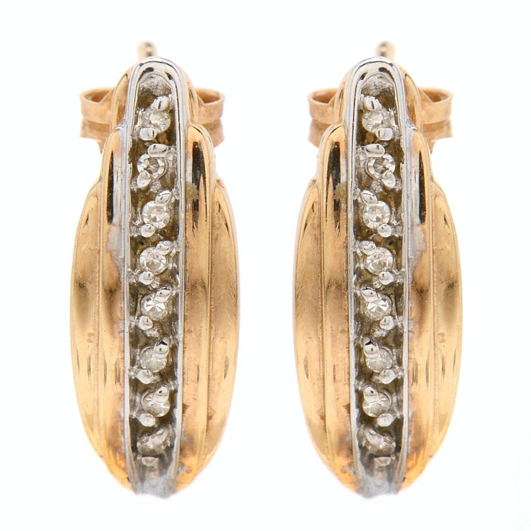 14K Yellow Gold and Diamond Pierced Earrings