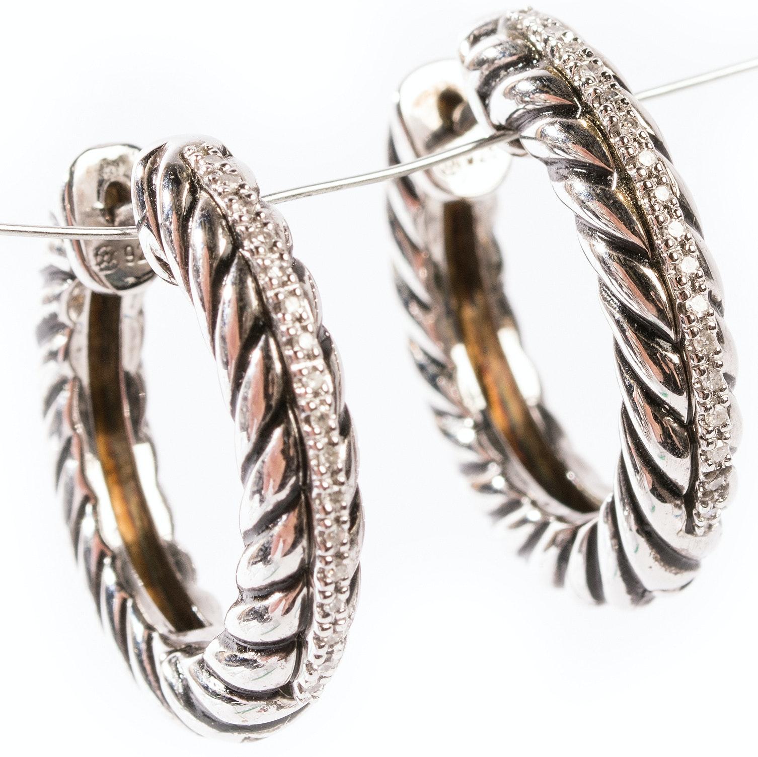 Sterling Silver Diamond Cable Hoop Earrings