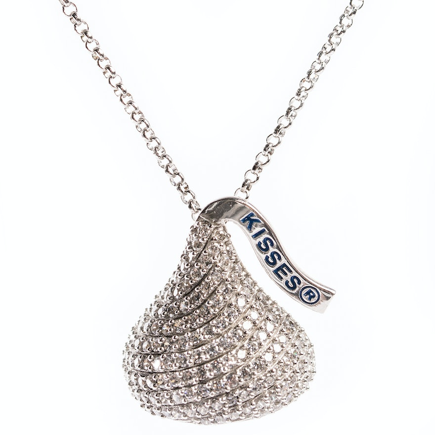 Sterling silver cubic zirconia hersheys kiss pendant necklace ebth sterling silver cubic zirconia hersheys kiss pendant necklace mozeypictures Image collections
