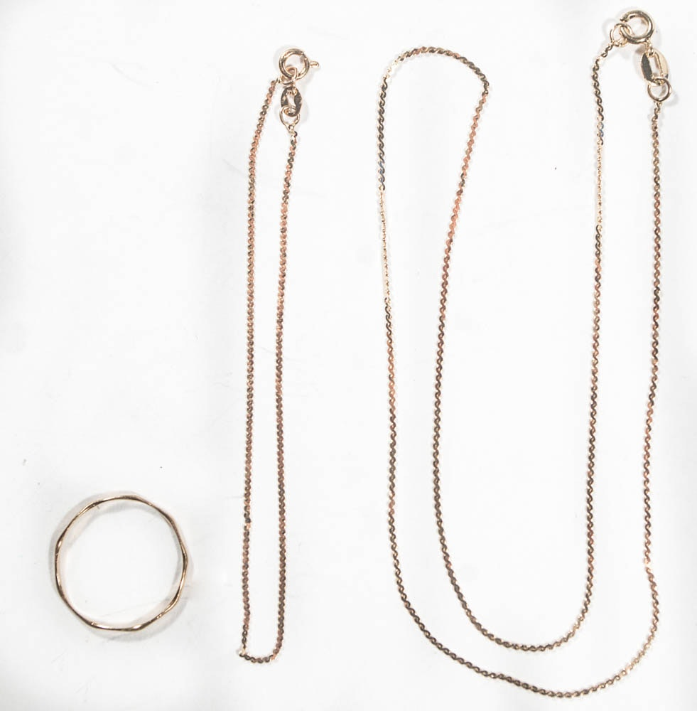 14K Yellow Gold Chain Assortment and Ring