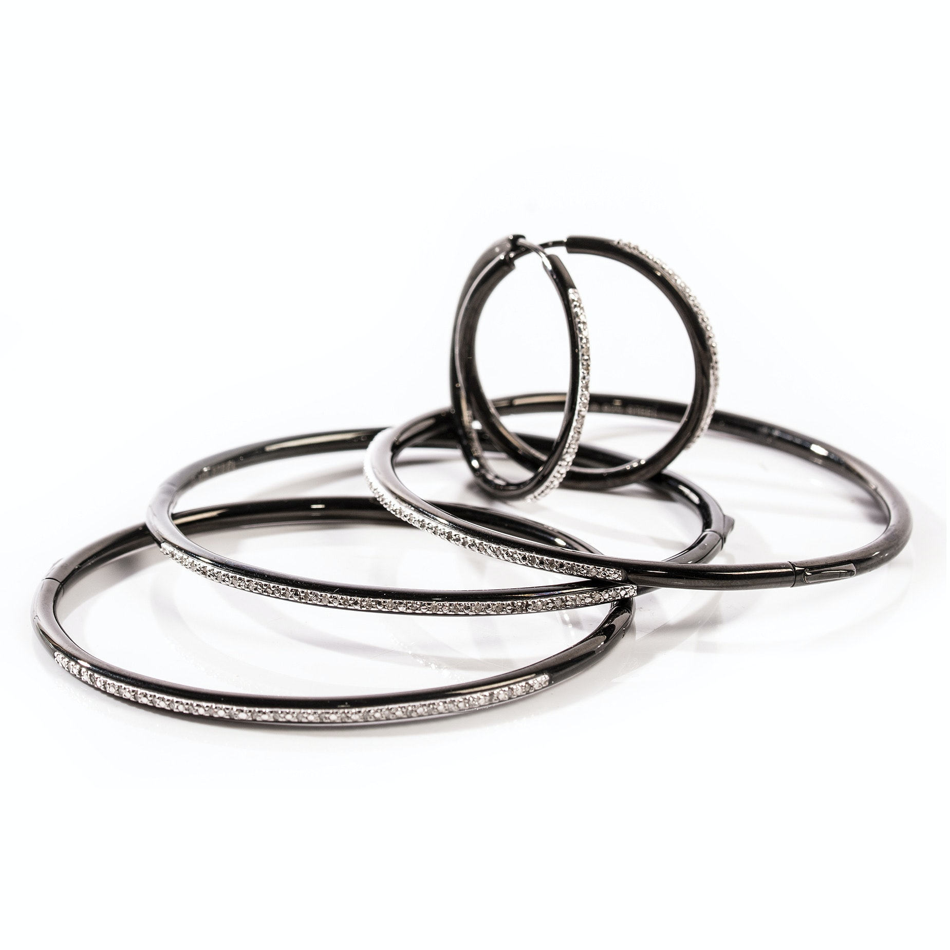Blackened Sterling Silver Steel Diamond Hoop Earrings and Bangle Bracelets