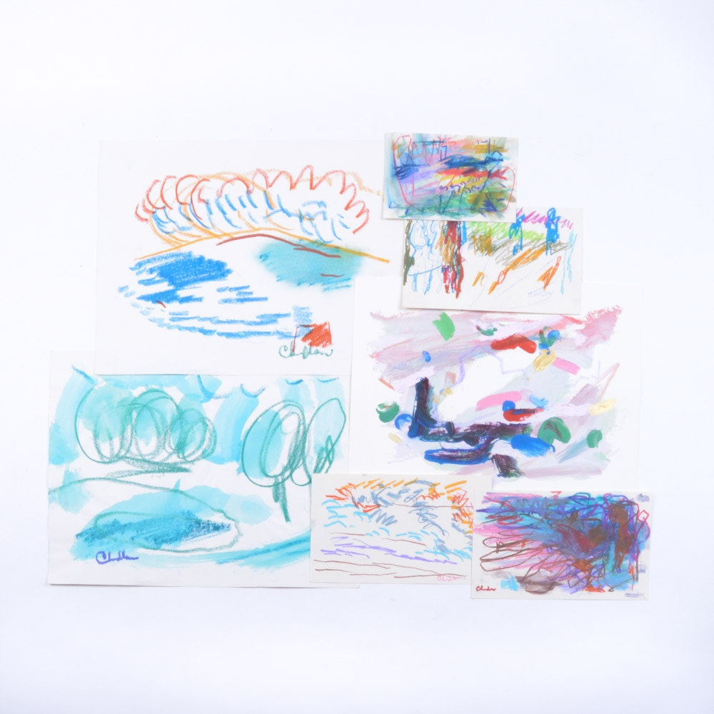 Paul Chidlaw Mixed Media Studies of Line and Color on Paper