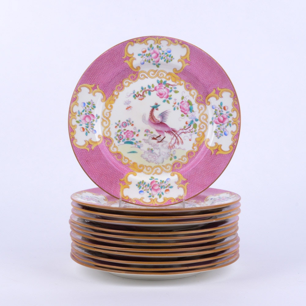 """Mintons China """"Cockatrice Pink"""" Luncheon Plates"""