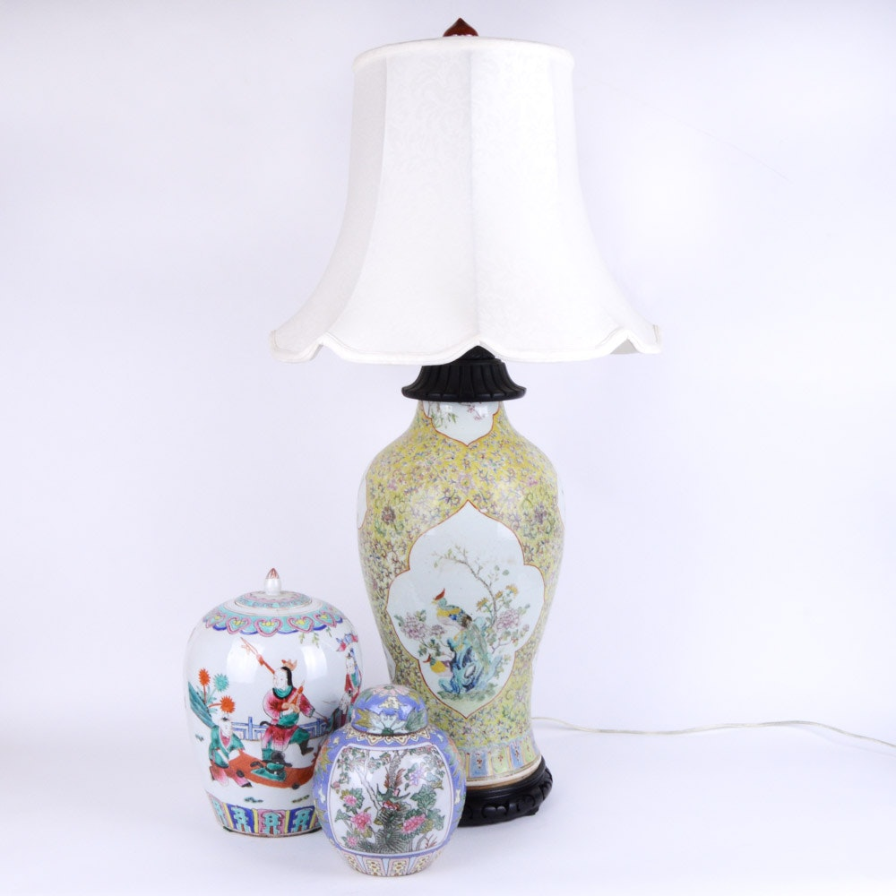 Chinese Vase Lamp and Early 20th Century Ginger Jars