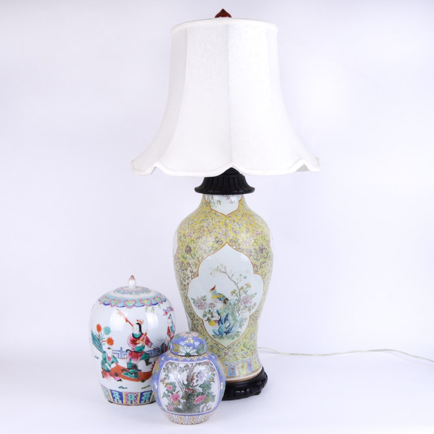 Chinese Vase Lamp And Early 20th Century Ginger Jars Ebth