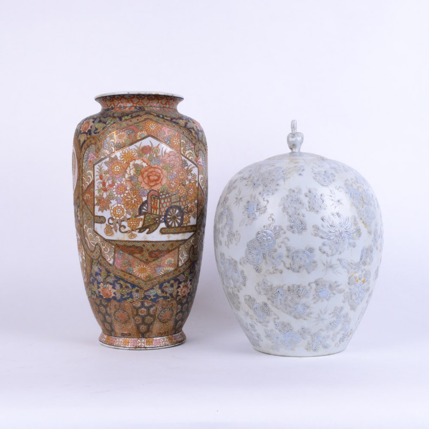 Antique Chinese Vase And Melon Jar Ebth