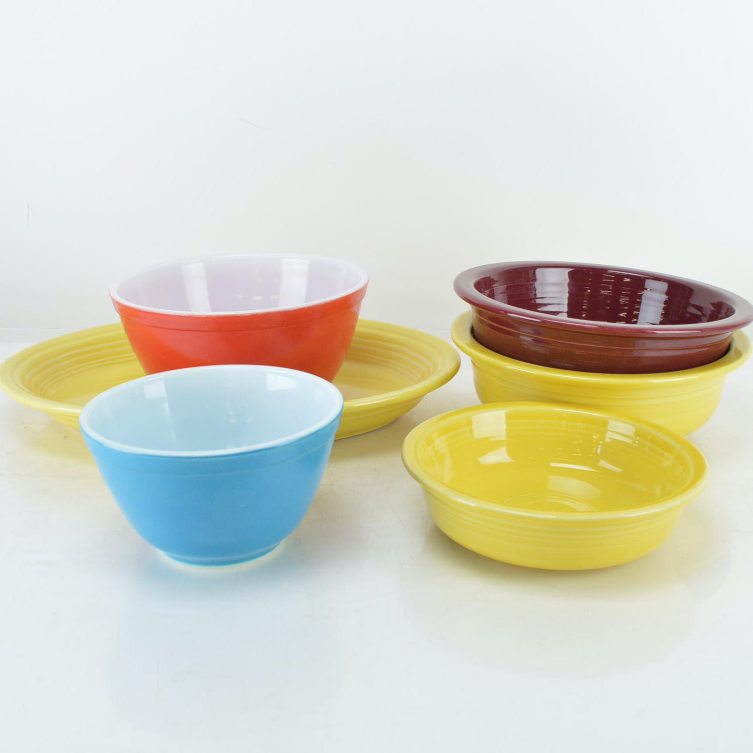 Pyrex Mixing Bowls and Fiesta Serving Pieces