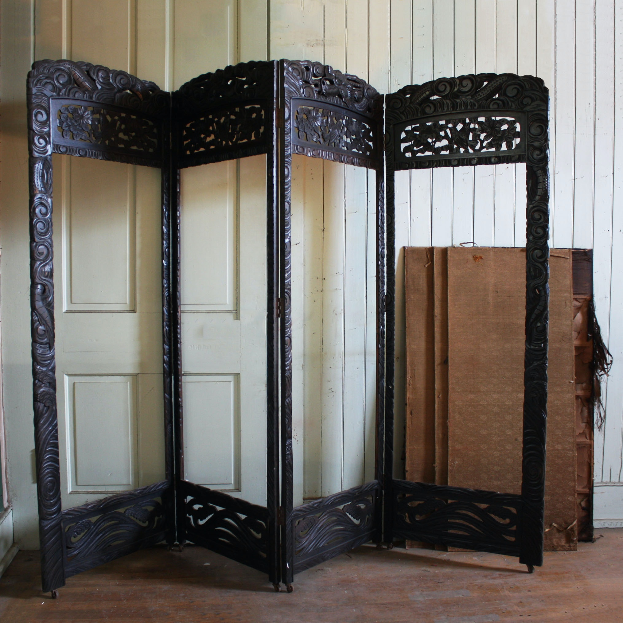 Vintage Chinese Carved Wood Four Panel Screen Divider
