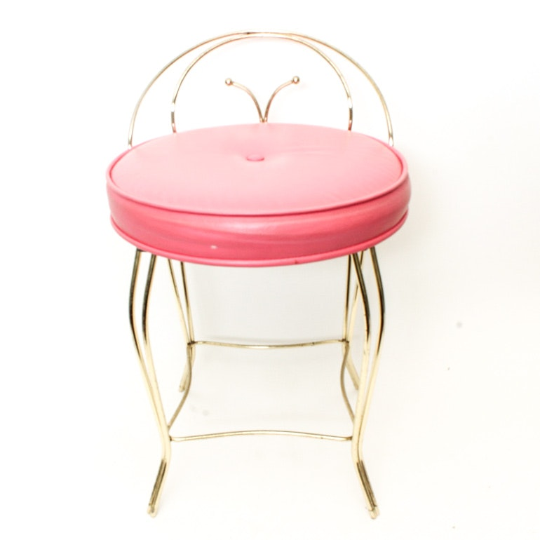 Vintage Vanity Chair With Brass Frame And Pink Vinyl Seat