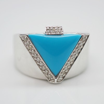 14K White Gold Stabilized Turquoise and Diamond Ring