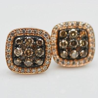 14K Rose Gold Brown Diamond Pierced Earrings