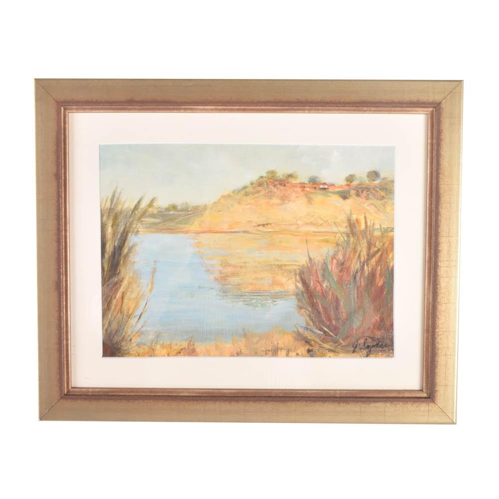 Oil on Board Landscape by J. Sawyer