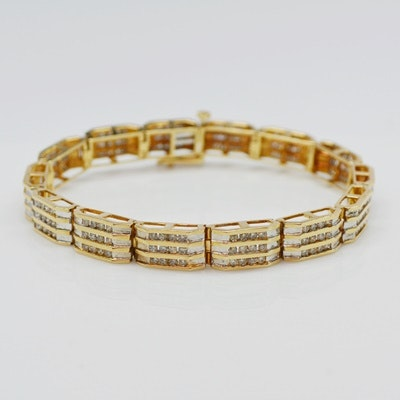 14K Yellow and White Gold 2.94 CTW Diamond Bracelet