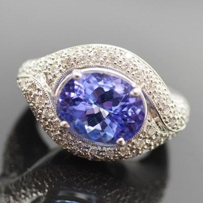 18K White Gold 5.50 CT Tanzanite and Diamond Ring