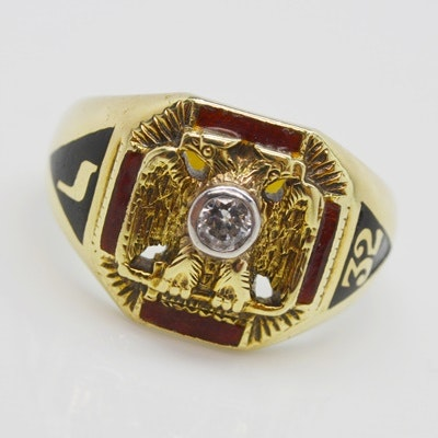 14K Yellow Gold Platinum Set Diamond Freemason's 32nd Degree Ring