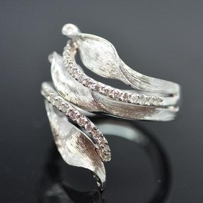 14K White Gold Diamond Sculptural Bypass Ring