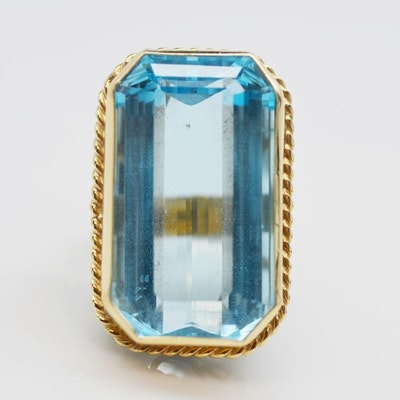 14K Yellow Gold 40.62 CT Blue Topaz Ring