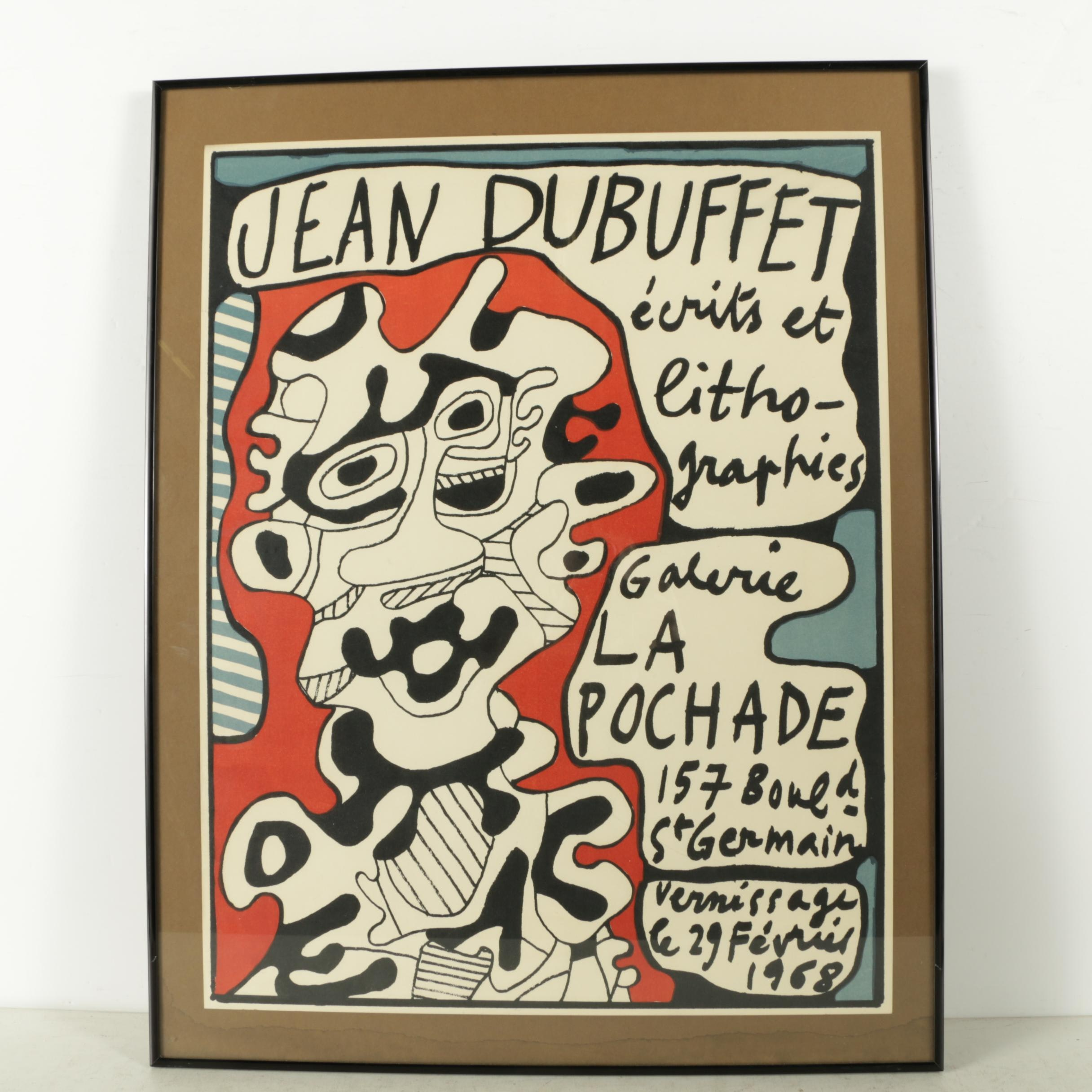 """Lithographic Jean Dubuffet Gallery Poster for """"Ecrits et Lithographies"""""""