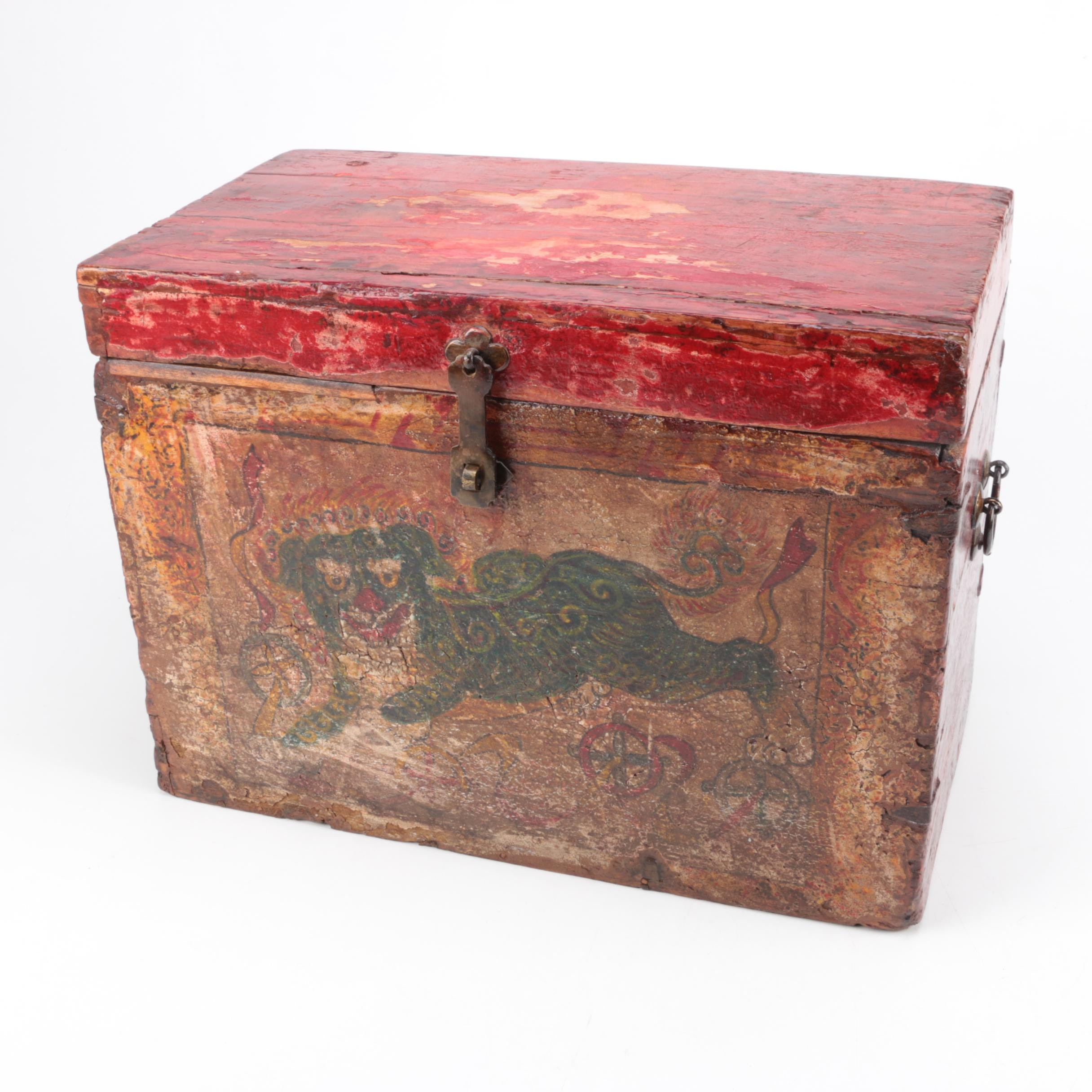 Painted Wooden Trunk