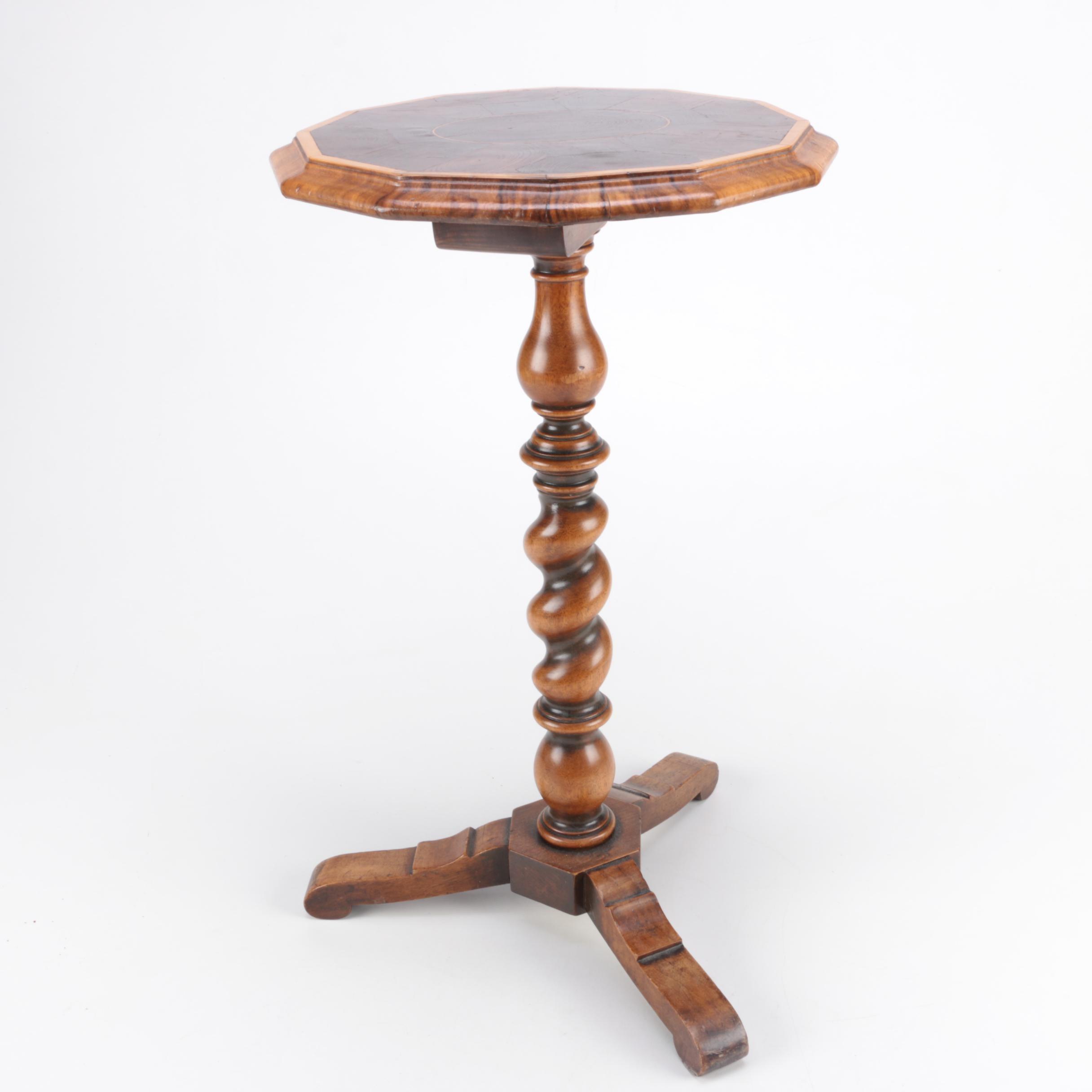 Vintage Walnut Oyster Veneer Barley Twist Pedestal Table ...