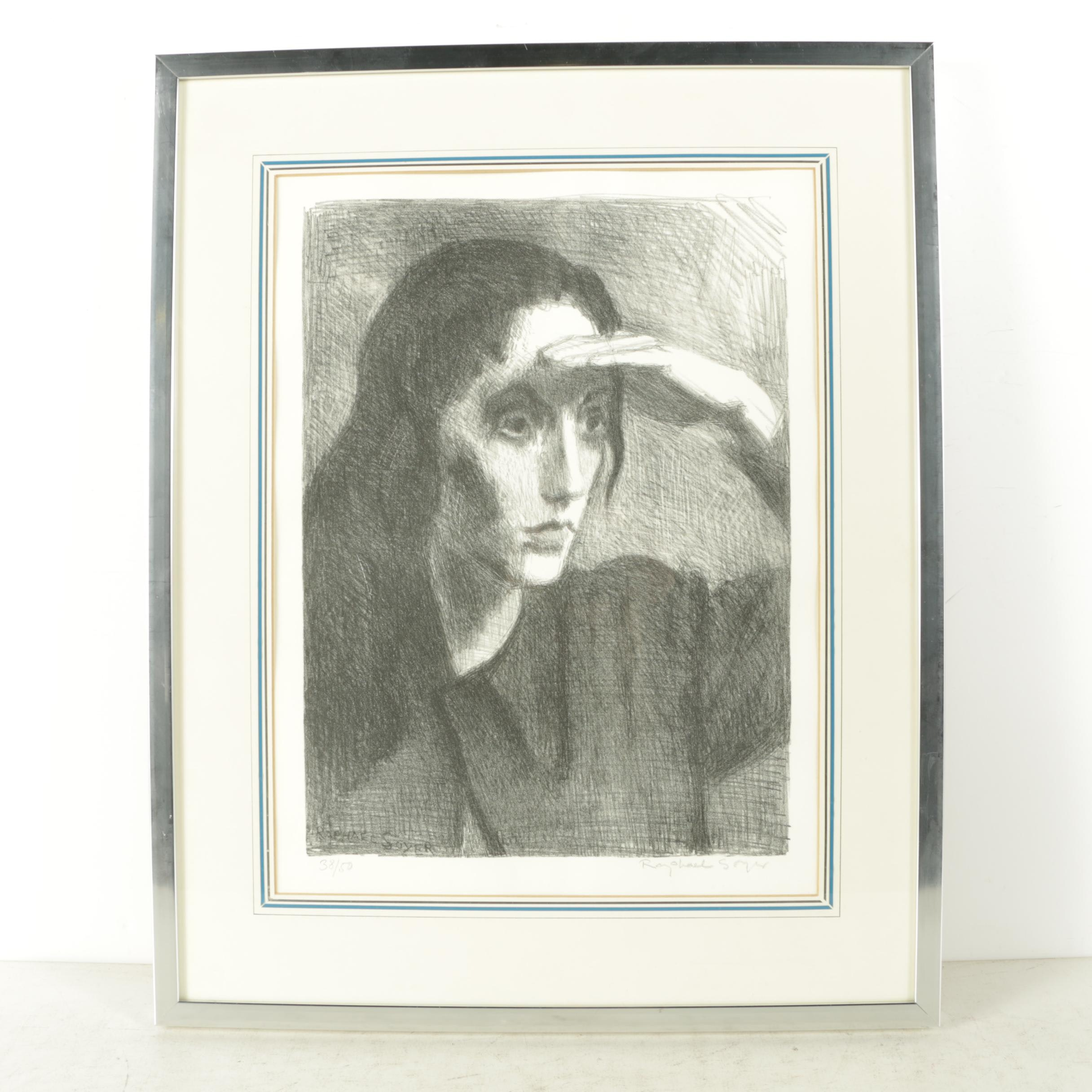 Raphael Soyer Limited Edition Lithograph on Paper