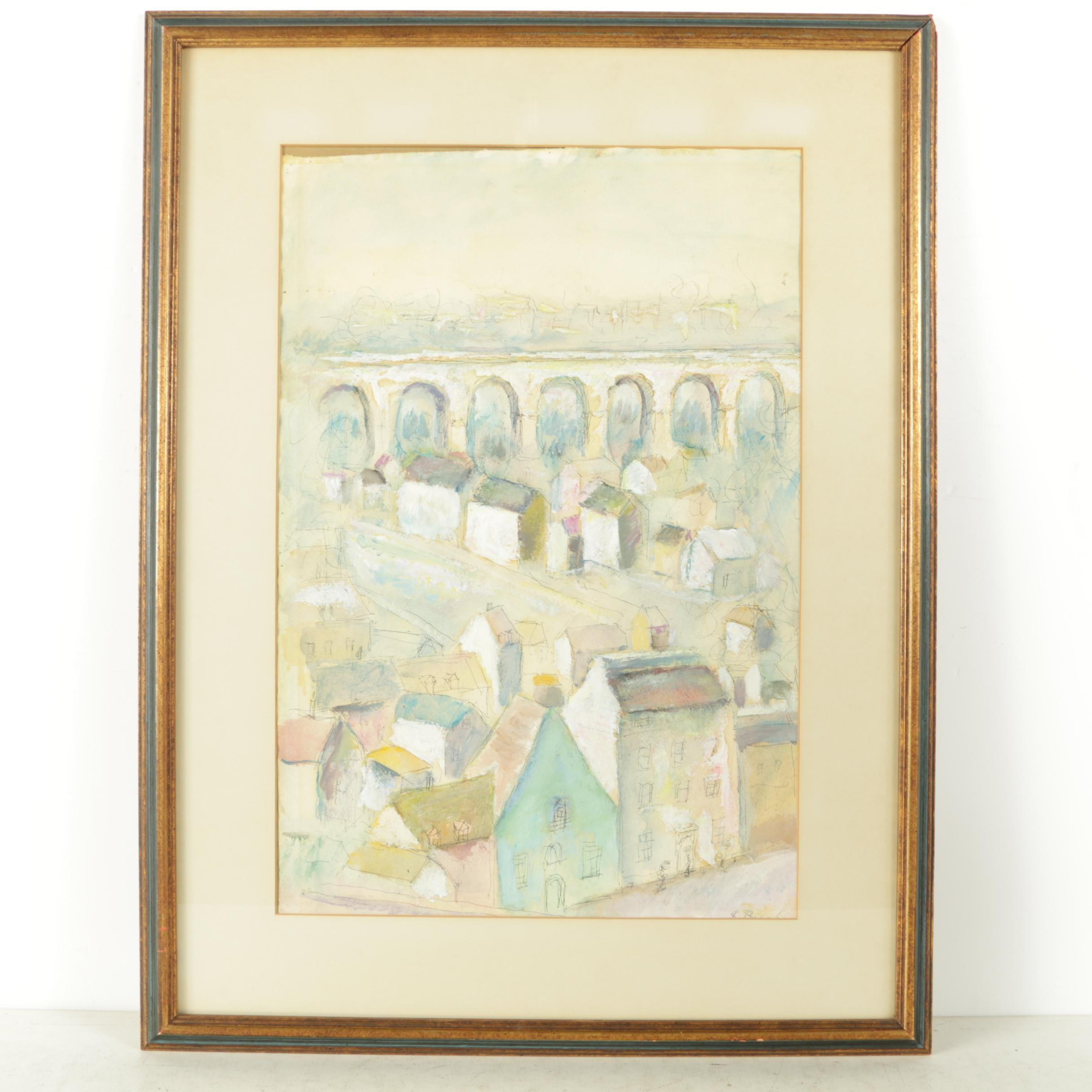 Samuel Brecher Mixed Media Painting on Paper