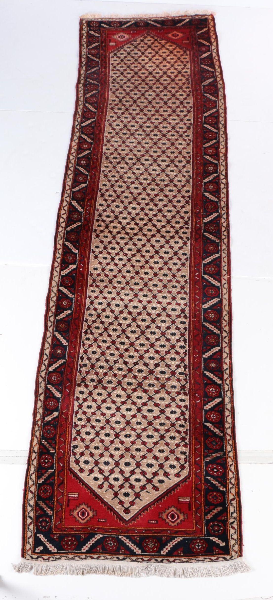 Hand-Knotted Persian Hamadan Carpet Runner
