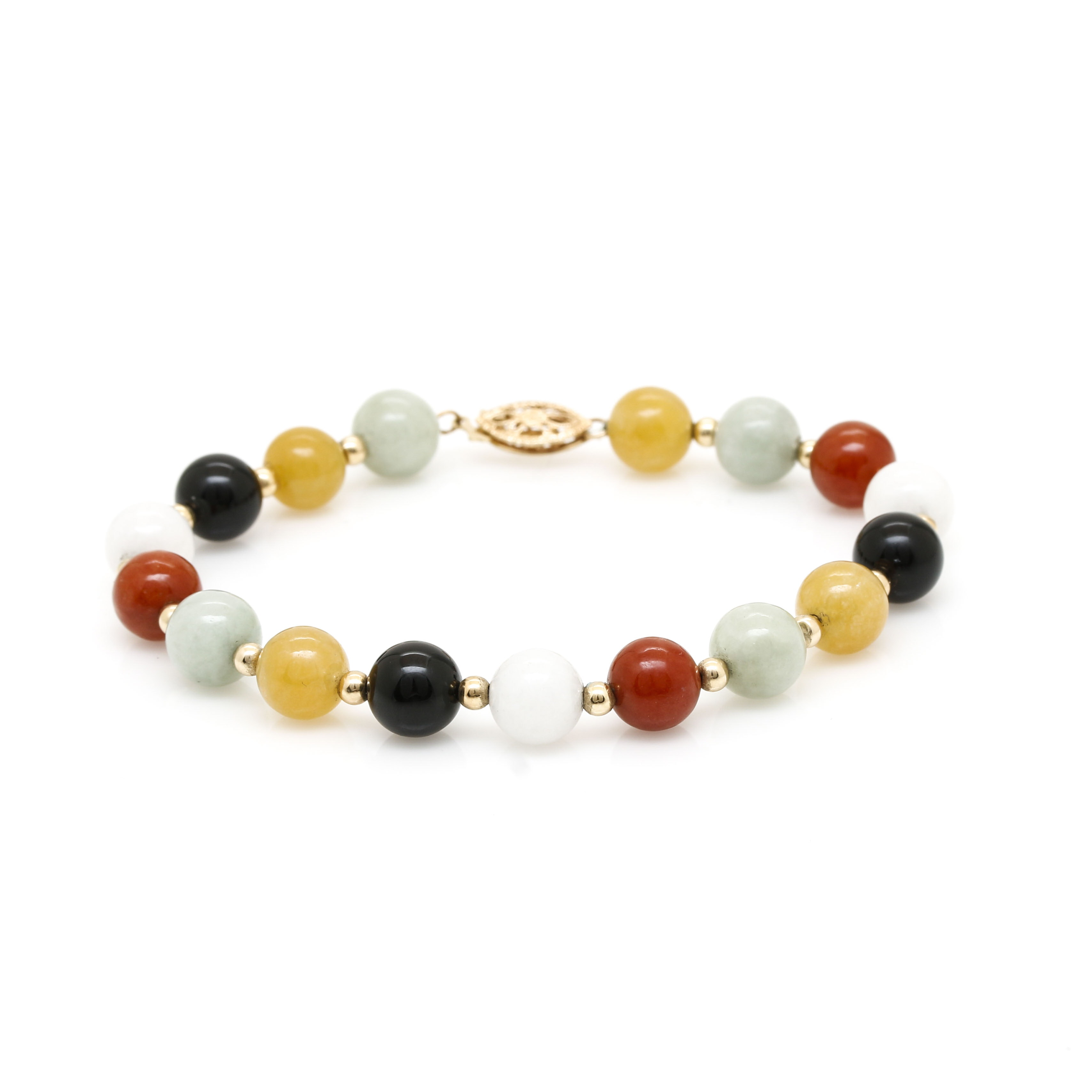 14K Yellow Gold Onyx and Jadeite Beaded Bracelet