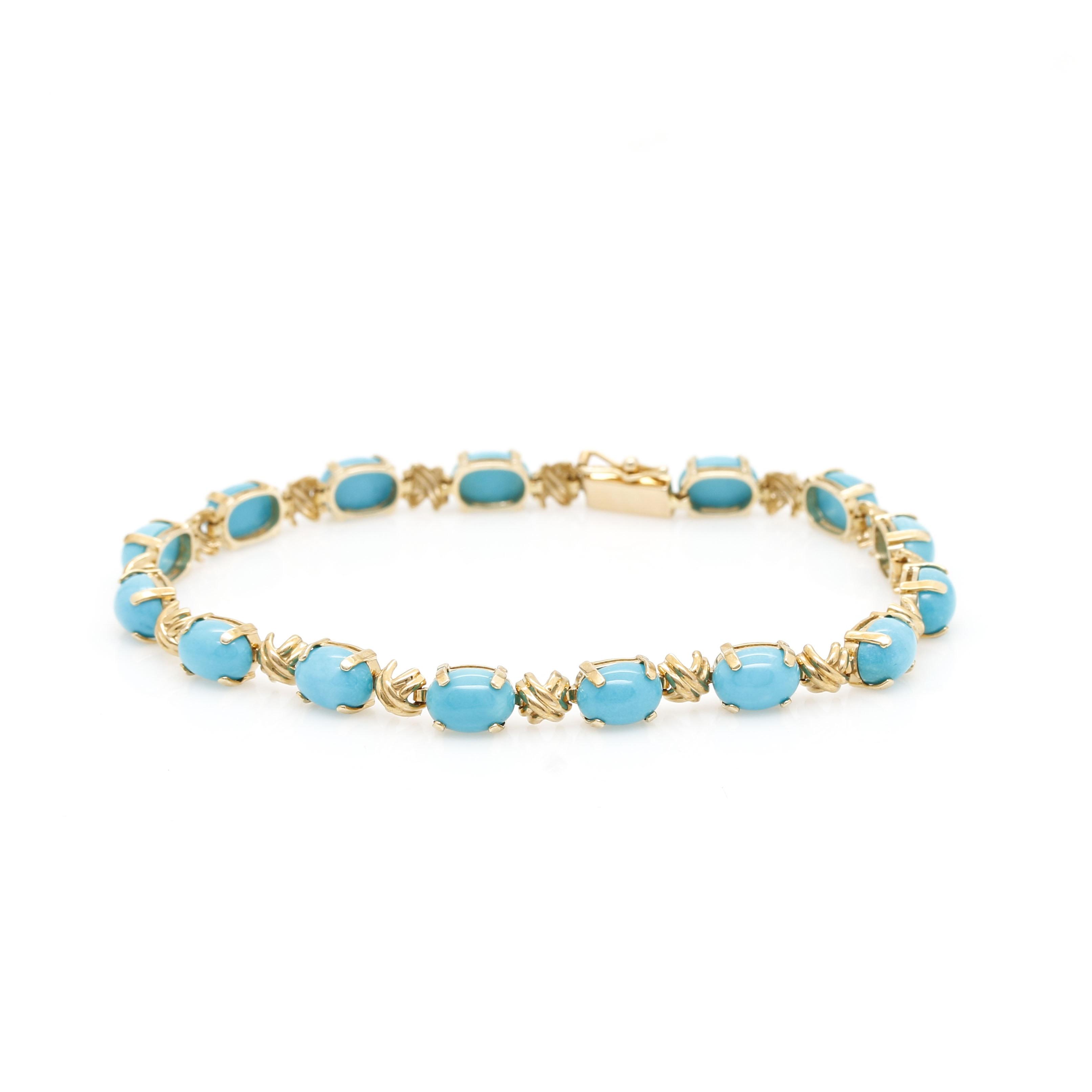 14K Yellow Gold 12.90 CTW Turquoise Bracelet