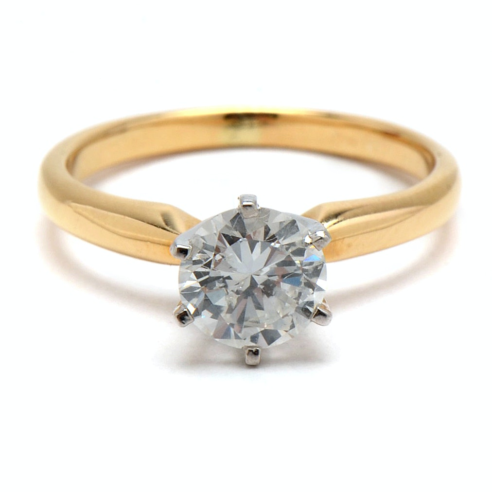 Platinum and 18K Yellow Gold 1.03 Carat Diamond Solitaire