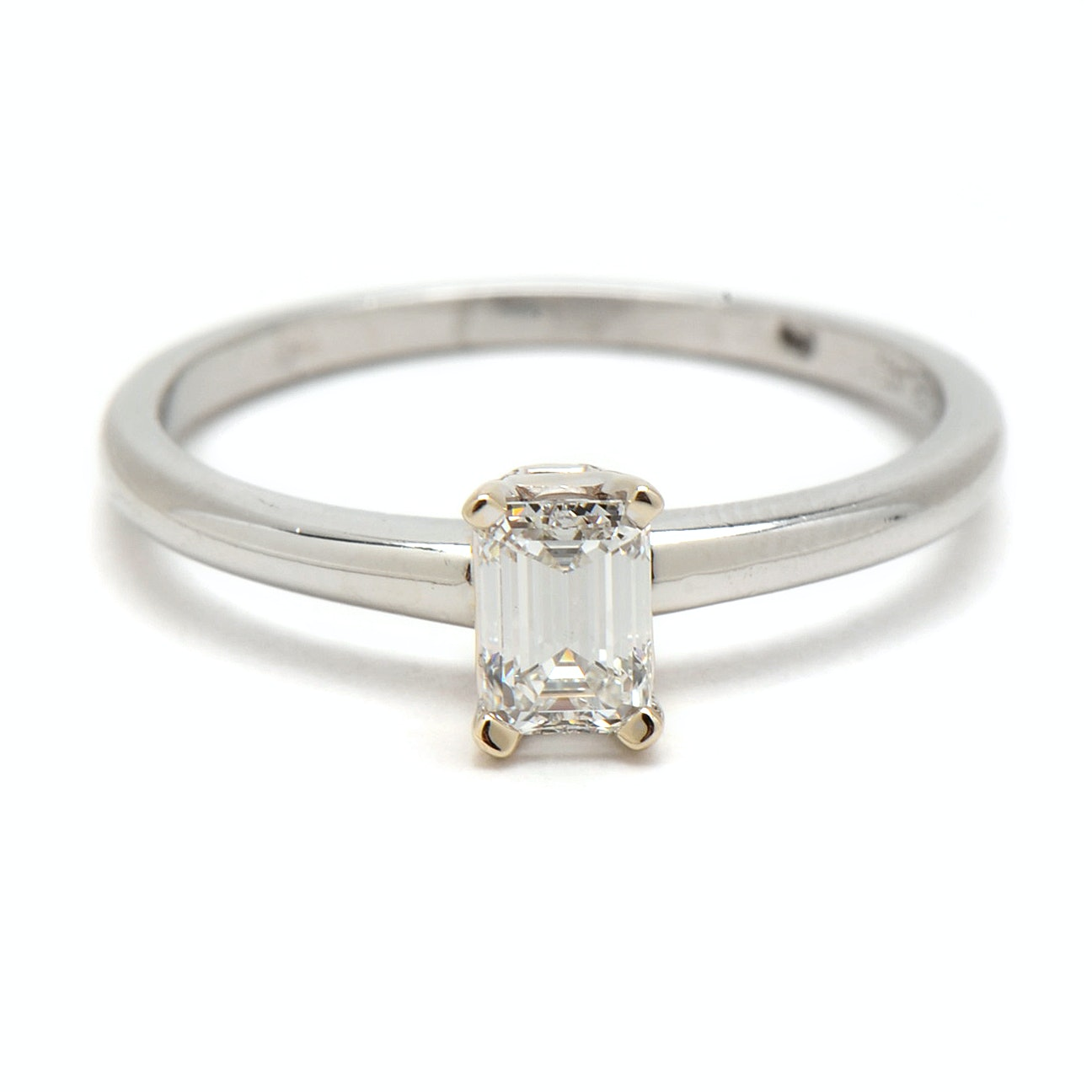 Platinum and 18K White Gold Emerald Cut Diamond Solitaire