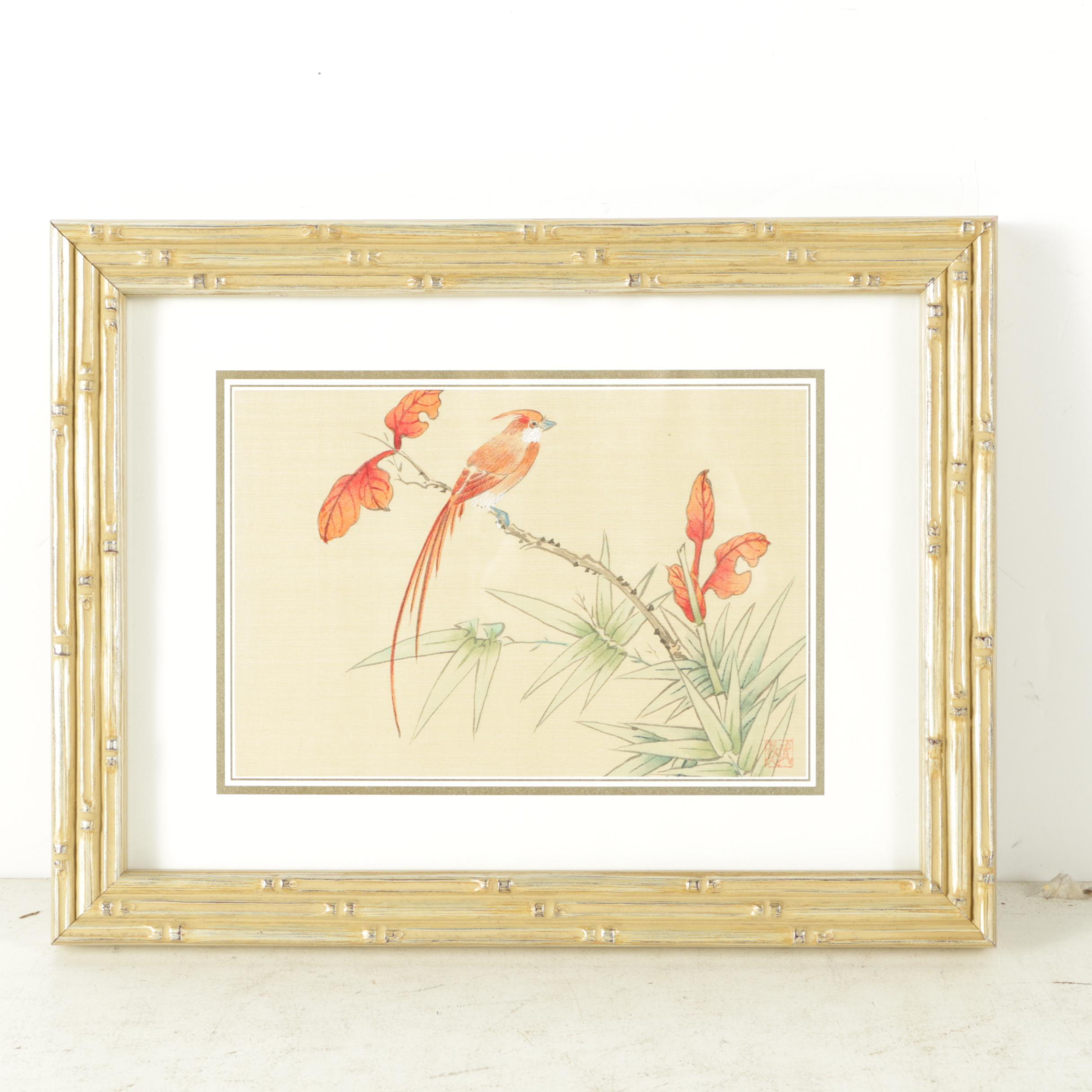 East Asian Watercolor on Silk of Bird