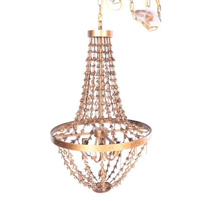 Brass Basket Style Electric Chandelier